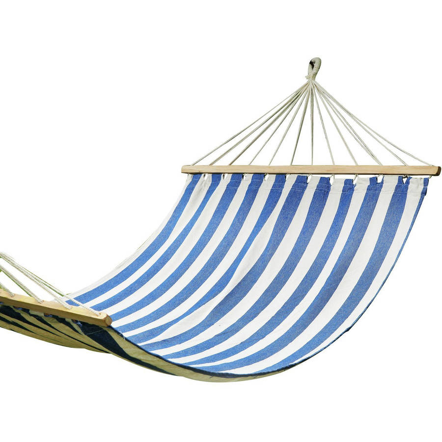 Adeco Blue Striped Outdoor Hammock Chair with Spreader Bar