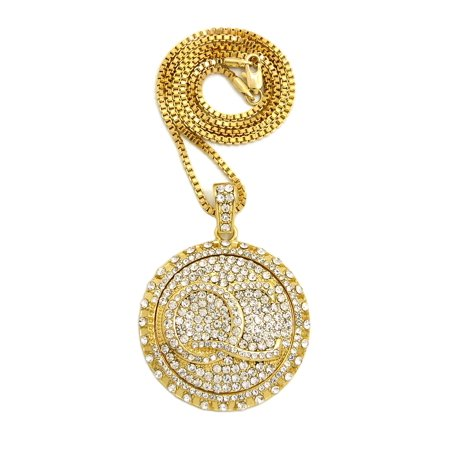 Stone Stud Initials QC Spinner Pendant with 2mm Box Chain Necklace, Gold-Tone, 30