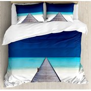 Landscape Duvet Cover Set, Wooden Long Jetty Beach Sand Crystal Water Tropical Hawaiian Paradise, Decorative Bedding Set with Pillow Shams, Navy Turquoise Cream, by Ambesonne