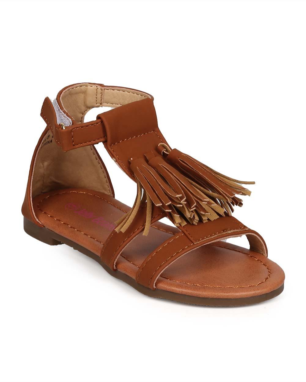 EC24 Nubuck Open Toe Tassel Velcro Gladiator Sandal (Toddler/ Little Girl/ Big Girl)