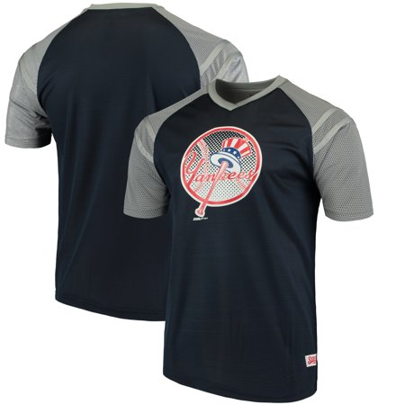 New York Yankees Stitches V-Neck Mesh Jersey T-Shirt - Navy/Gray