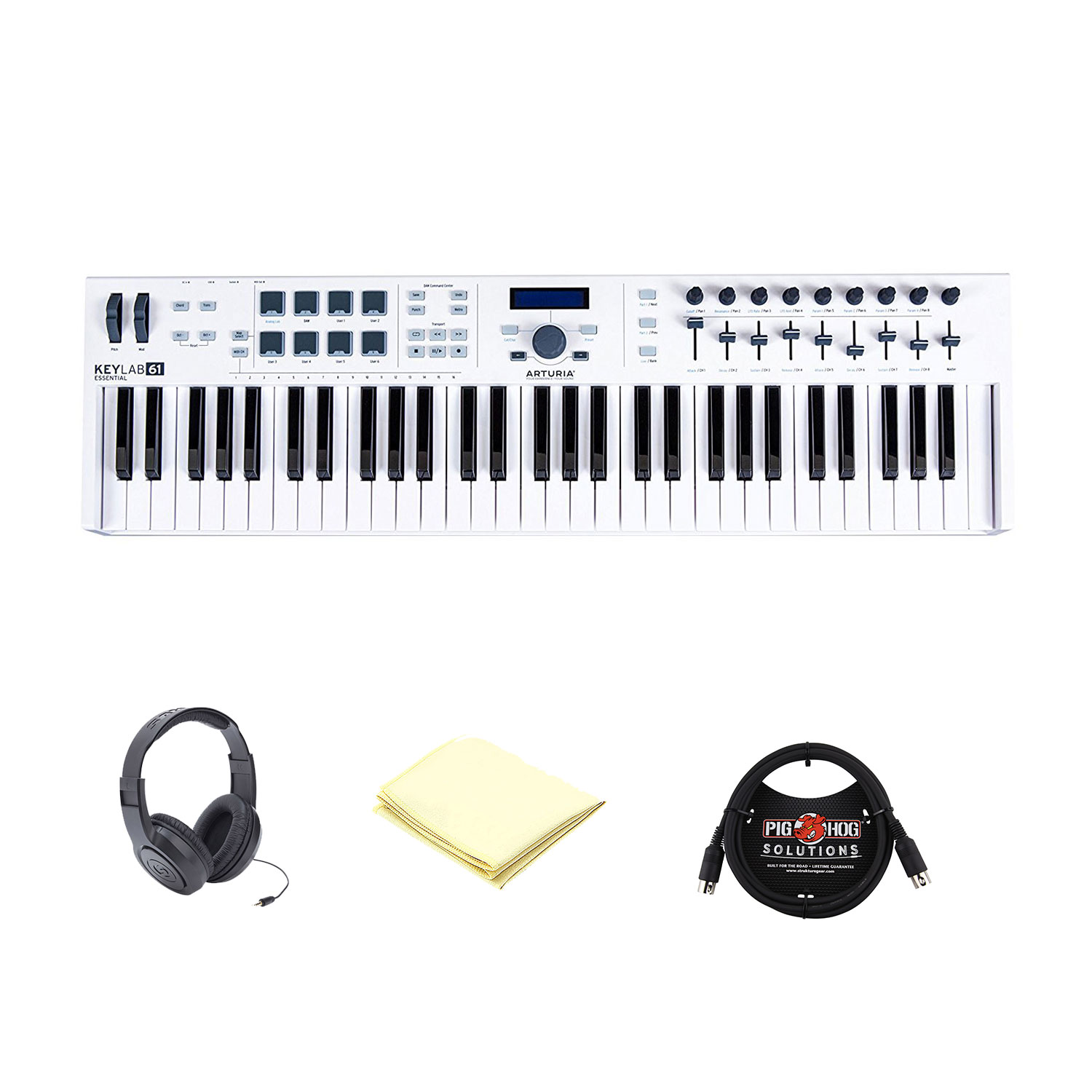 Arturia KeyLab 61 Essential 61-Note USB MIDI Controller Keyboard with Extensive Hands-on Controls w/ Open Ear Headphone, Midi Cable and Midi Keyboard Polishing Cloth