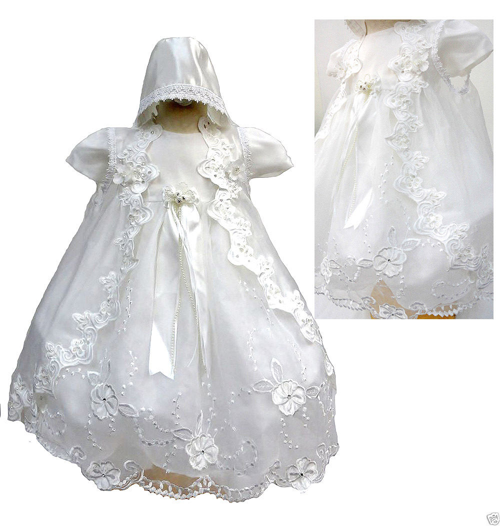 NEW INFANT GIRL /& TODDLER CHRISTENING BAPTISM FORMAL DRESS white new born 30 M