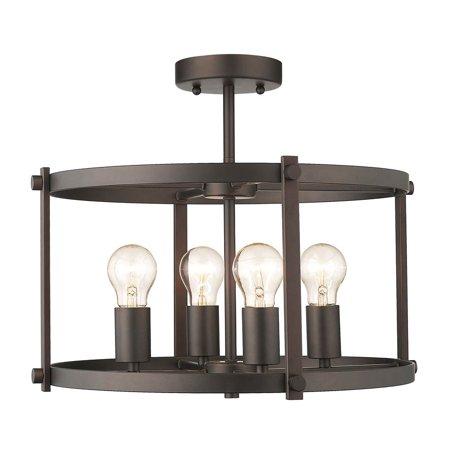 - CHLOE Lighting IRONCLAD Farmhouse 4 Light Rubbed Bronze Convertible Semi-flush Ceiling Fixture 17.5