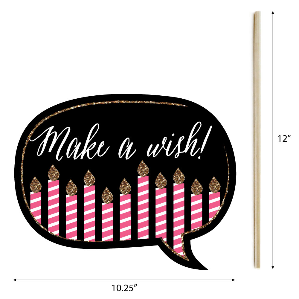 Funny Chic 13th Birthday Pink Black And Gold Birthday Party Photo Booth Props Kit 10 Count Walmart Com Walmart Com
