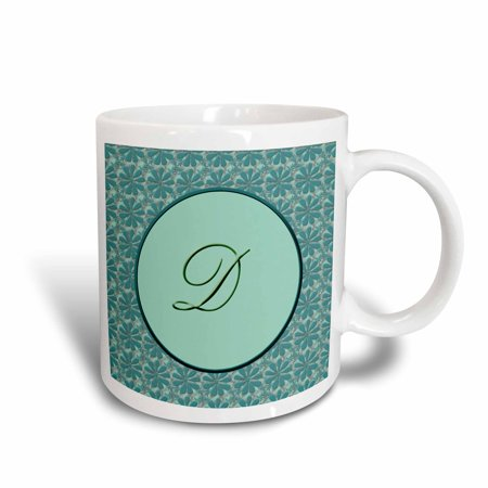 3dRose Elegant letter D in a round frame surrounded by a floral pattern all in teal green monotones, Ceramic Mug, 11-ounce Double Face Green Letter