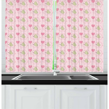 Designer Inspired Olive (Nursery Curtains 2 Panels Set, Love Themed Valentines Inspired Elephant with Giant Hearts Checkered Pattern, Window Drapes for Living Room Bedroom, 55W X 39L Inches, Pink Olive Green, by Ambesonne)