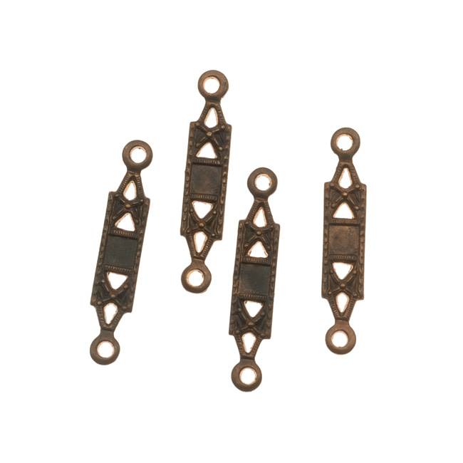 Vintaj Natural Brass 2 Hole Deco Bar Connector / Bail Beads (4)