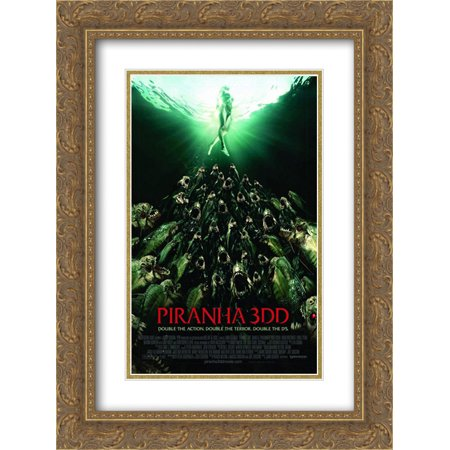 Piranha 3DD 18x24 Double Matted Gold Ornate Framed Movie Poster Art