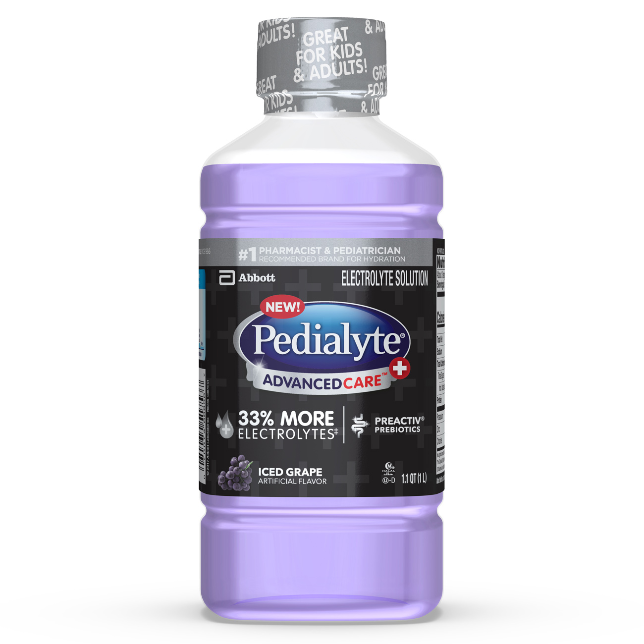 Pedialyte AdvancedCare+ Electrolyte Drink with 33% More Electrolytes and has PreActiv Prebiotics, Iced Grape, 1 Liter (Pack of 4)