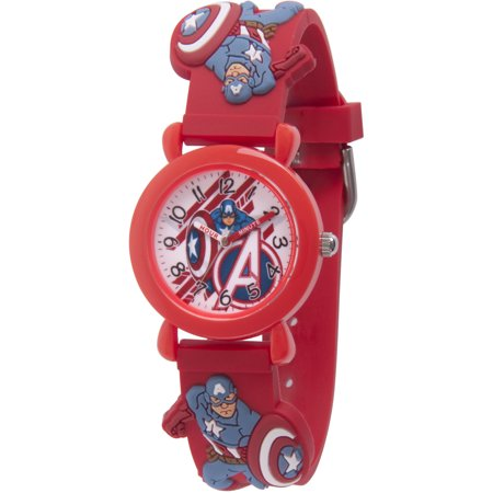 Avenger Assemble Captain America Boys' Red Plastic Time Teacher Watch, Red 3D Plastic Strap