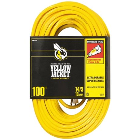 Coleman Cable 02888 100 Ft 14 3 Yellow Jacket Extension Cord