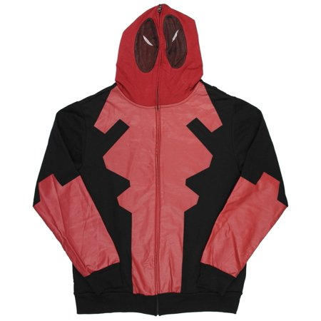 Deadpool Costume Sale (Marvel Comics Deadpool Costume Mask Hoodie Full Zip Mens Movie Pop)