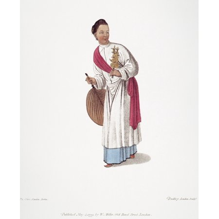 Woman Lithograph - China Woman 1799 Na Chinese Woman Of Upper Classes Probably With Bound Feet English Lithograph 1799 After A Contemporary Pen-And-Wash By Pu-Qua Canton Rolled Canvas Art -  (24 x 36)