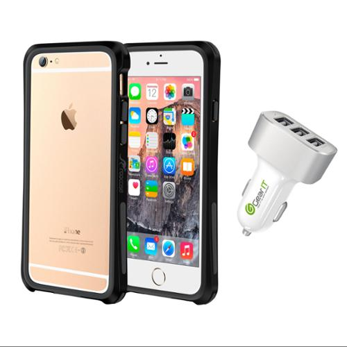 iPhone 6 Case Bundle (Case + Charger), roocase iPhone 6 4.7 Linear Bumper Open Back with Corner Edge Protection Case Cover with White 5