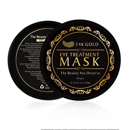 24K Gold Eye Treatment Masks - Under Eye Patches, Dark Circles Under Eye Treatment, Under Eye Bags Treatment, Eye Mask for Puffy Eyes, Anti-Wrinkle, Undereye Dark Circles, Gel Pads ()