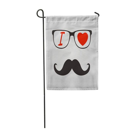 SIDONKU Beauty I Love Hipster Glasses and Mustaches Black Comedy Garden Flag Decorative Flag House Banner 12x18 inch](Glasses And Mustache)