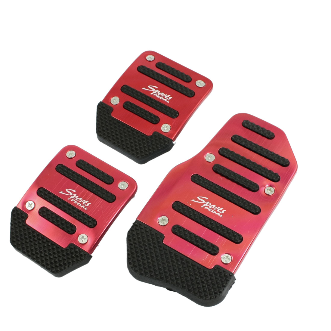 3 x Manual Car Gas Brake Clutch Pedal Pad Cover Set Black Red
