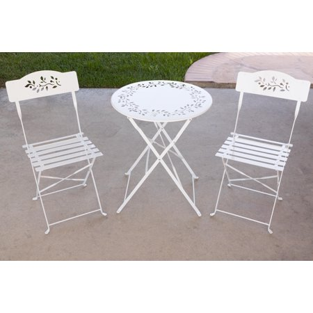 Alpine Corporation 3-Piece Floral Metal Outdoor Bistro Set - White