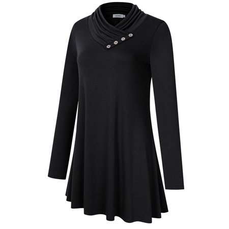 Missky Women's Long Sleeve Cowl Neck Pleated Casual Flared Tunic Top Blouse - image 1 of 8