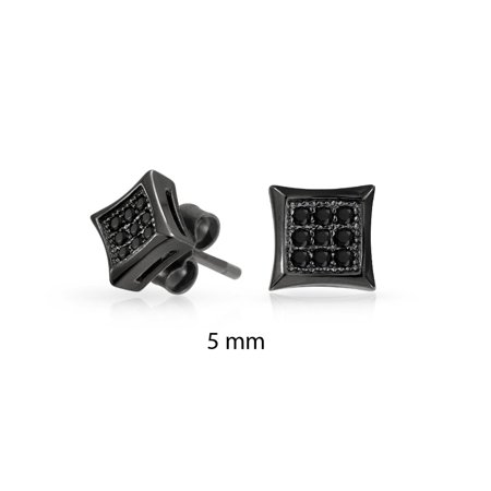 Black Square Shaped Cubic Zirconia Micro Pave CZ Kite Stud Earrings For Men Black Plated 925 Sterling Silver 5MM