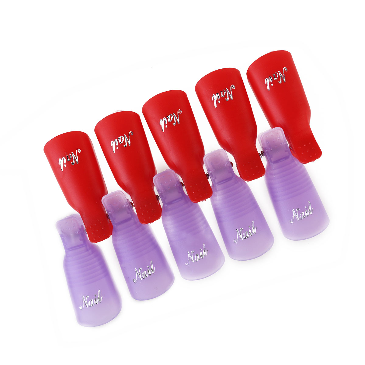 20pcs Nail Art Soak Off Clips Caps UV Gel Nail Polish Remover Wrap Tool (Red & Purple)