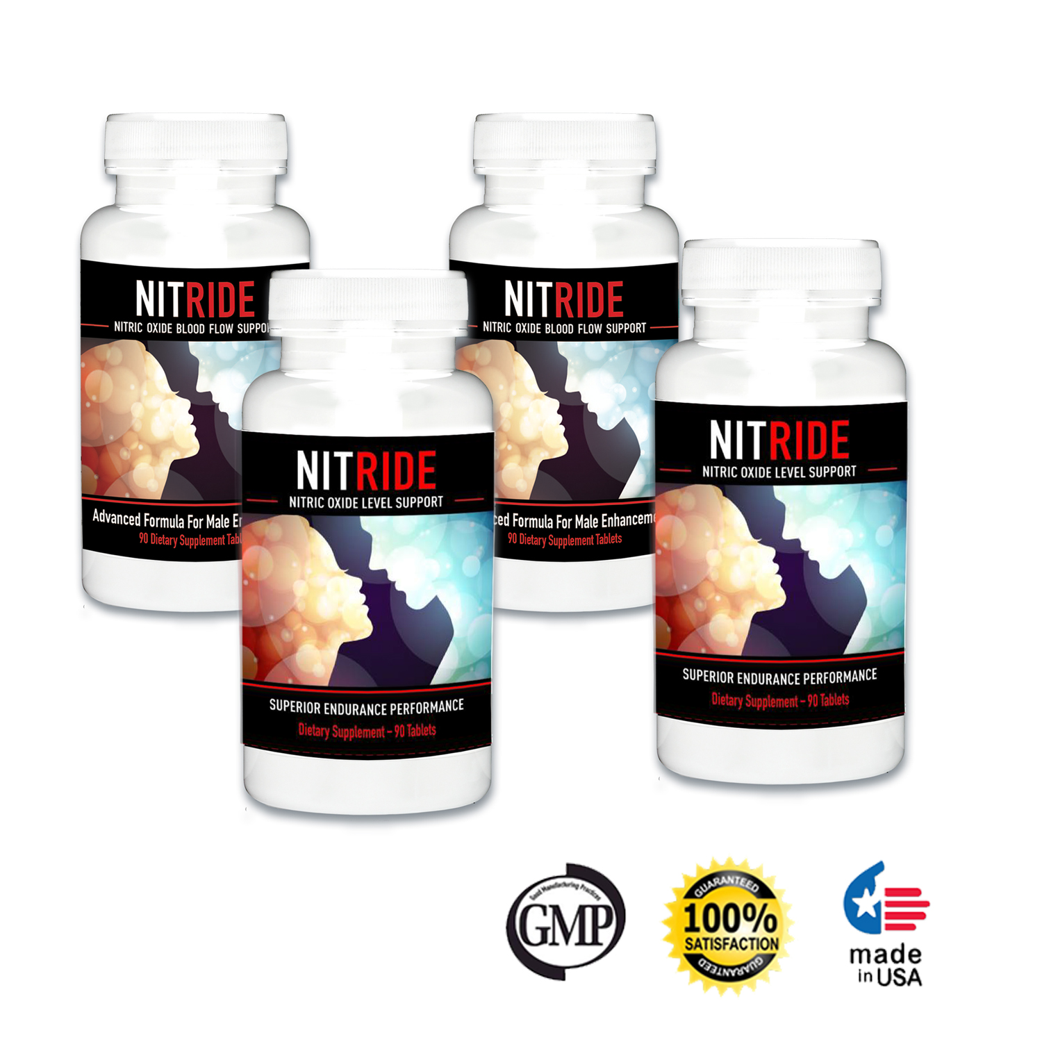Nitride Premium Nitric Oxide Booster For Increased Blood Flow, Stamina, Stimulate Libido & Ability, Men, Push Beyond Former Limits Today (4 Bottles)