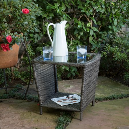 McGrath Outdoor Wicker Side Table with Glass Top, Gray ()