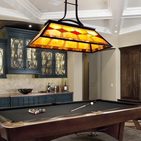 3-Light Pool Table Tiffany Style Hanging Fixture Steel Construction UL (Peacock Tiffany Hanging)
