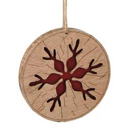 "Midwest 3.5"" Country Rustic Style Snowflake Disc Christmas Ornament - Brown/Red"