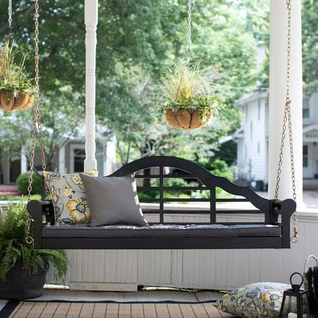 Belham Living Kimbro Lutyens 5 ft. Outdoor Porch Swing with Cushion - Black ()