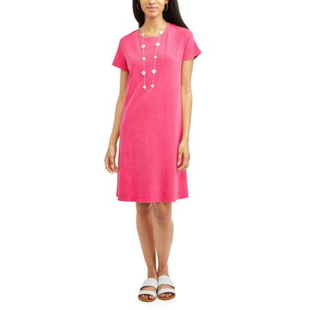 30038eeabb6 Time and Tru - Women s Essential T-shirt Dress - Walmart.com