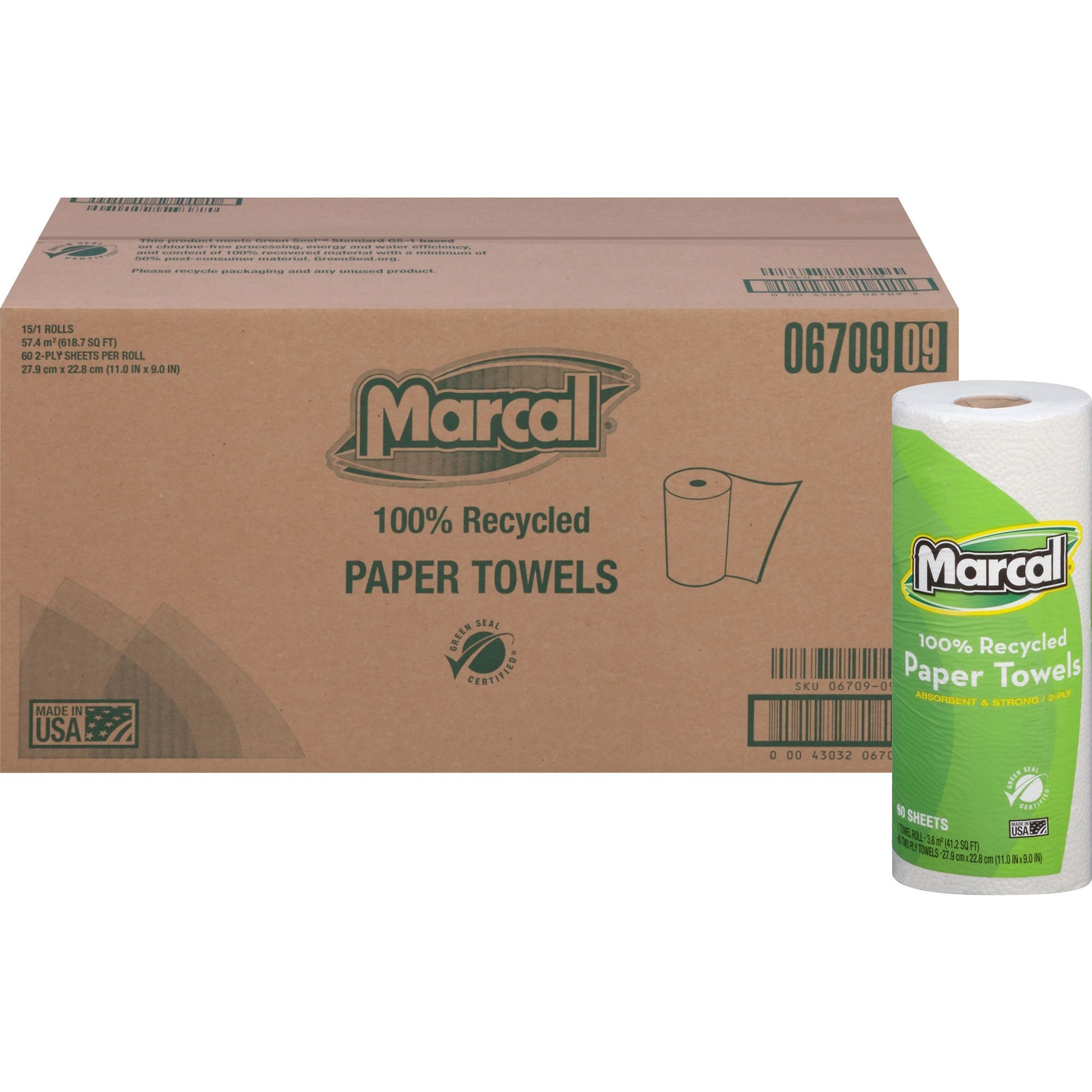 Marcal, MRC6709, 100% Recycled, Paper Towels, 15 / Carton, White