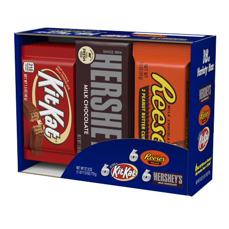Hershey's full-size bars variety candy pack, 18 count (Kit Kat Halloween)