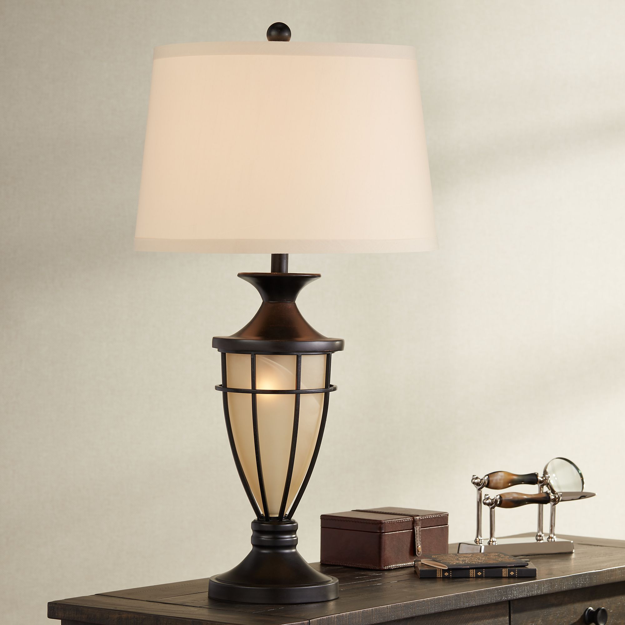 John Timberland Mission Table Lamp With Nightlight Champagne Glass