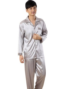 7cf387e933 Product Image OUMY Mens Silk Satin Lapel Long Sleeve Sleep Home Wear Set