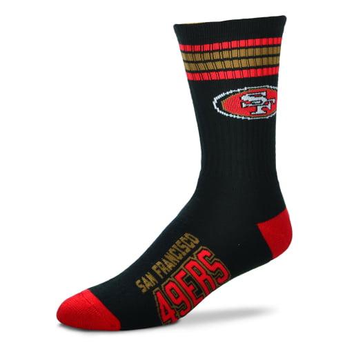 San Francisco 49ers For Bare Feet 4-Stripe Deuce Team Color Performance Crew Socks