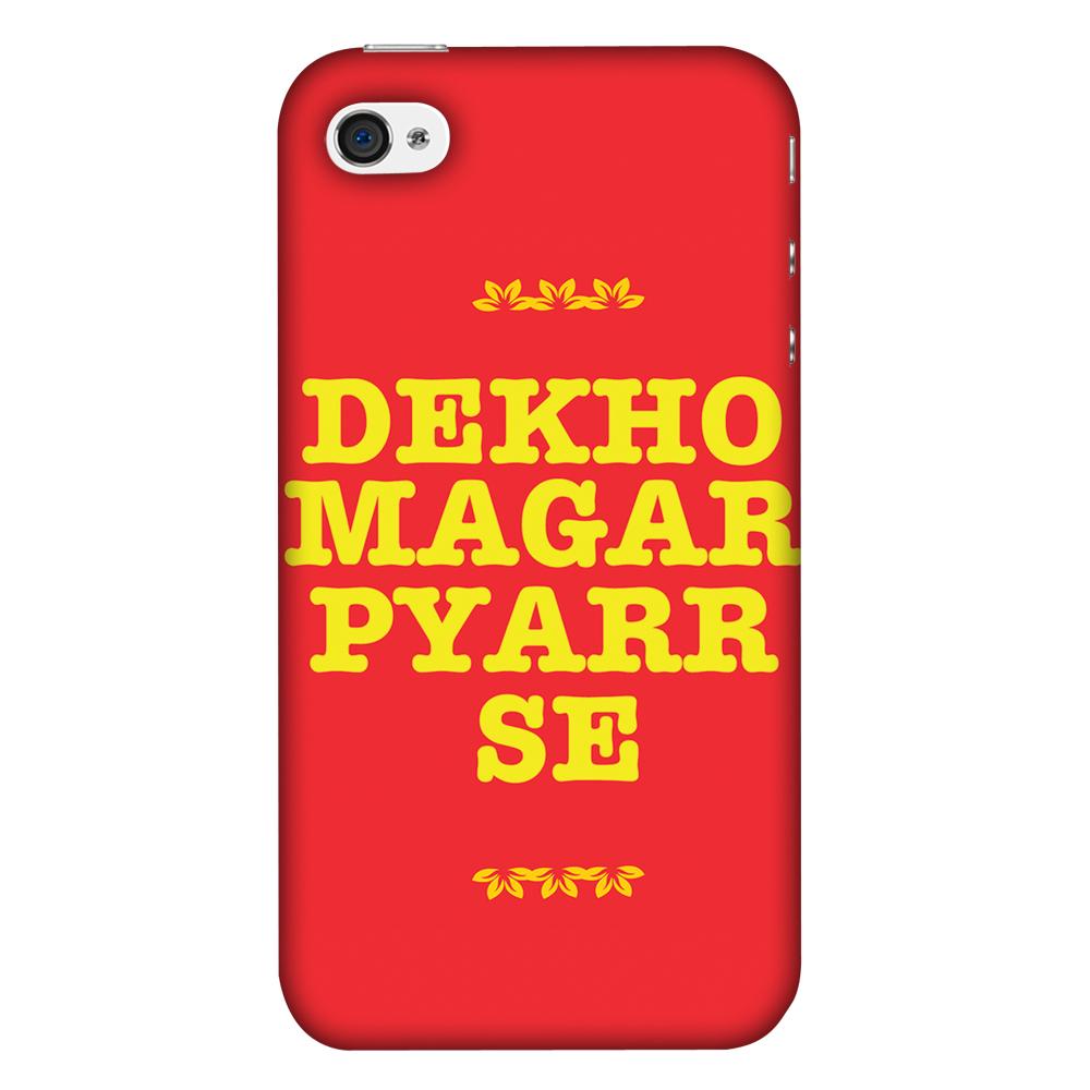 iPhone 4S Case, iPhone 4 Case - Dekho Magar Pyaar Se,Hard Plastic Back Cover, Slim Profile Cute Printed Designer Snap on Case with Screen Cleaning Kit