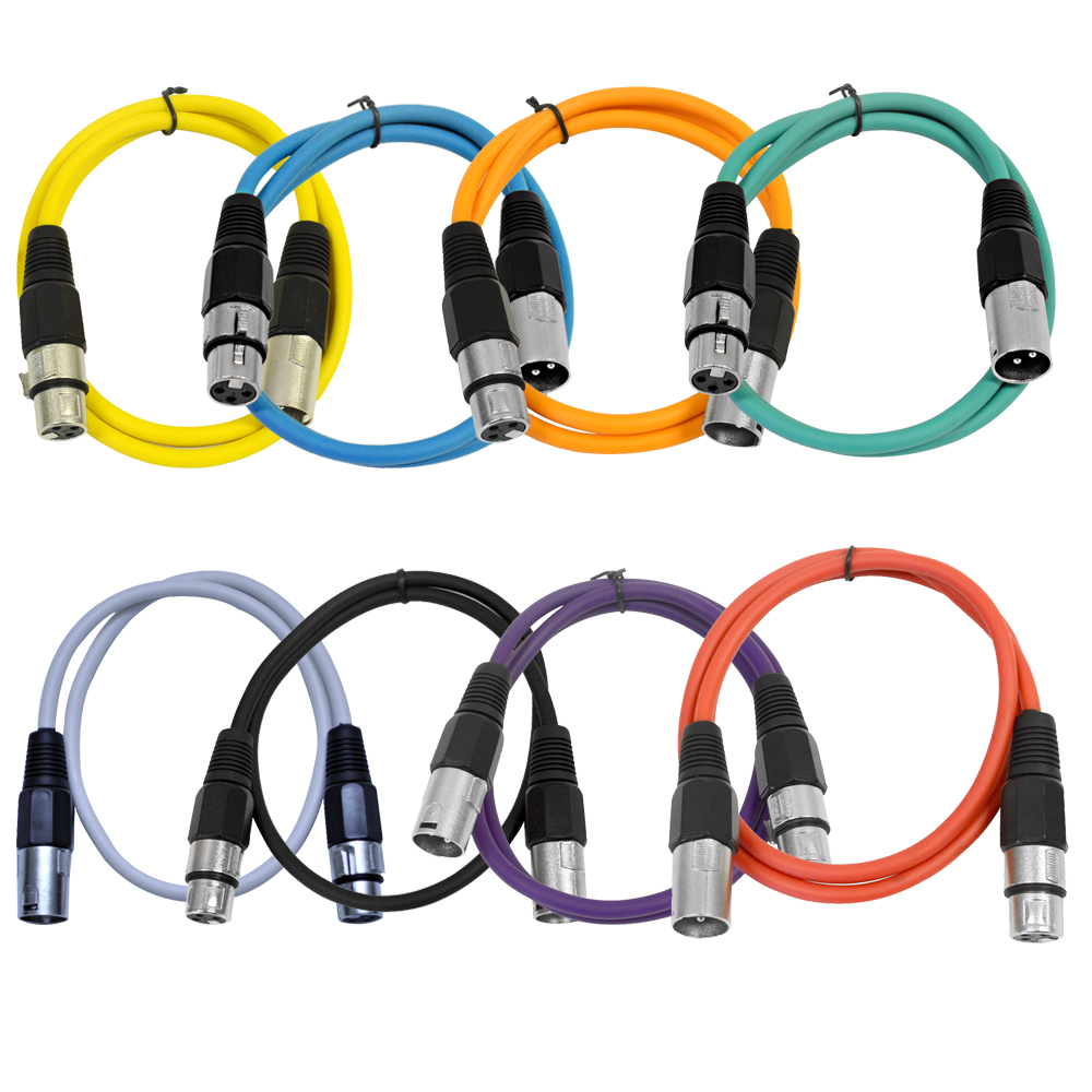 Seismic Audio  - 8 Pack of Colored 3 Foot XLR Patch Cables - 3' Mic Patch Cords - SAXLX-3-Multi