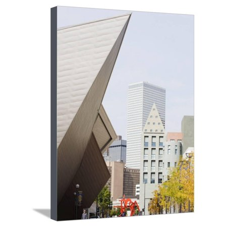 Downtown Denver Art Museum, Denver, Colorado, USA Stretched Canvas Print Wall Art By Christian Kober - Halloween Night Downtown Denver