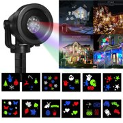 Christmas Snowflake Projector Lights Rotating LED Snowfall Projection Lamp with Remote Control, Outdoor Waterproof Sparkling Landscape Decorative Lighting for Holiday Halloween Xma