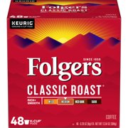 Folgers Classic Roast K-Cup Coffee Pods, Medium Roast, 48 Count For Keurig and K-Cup Compatible Brewers