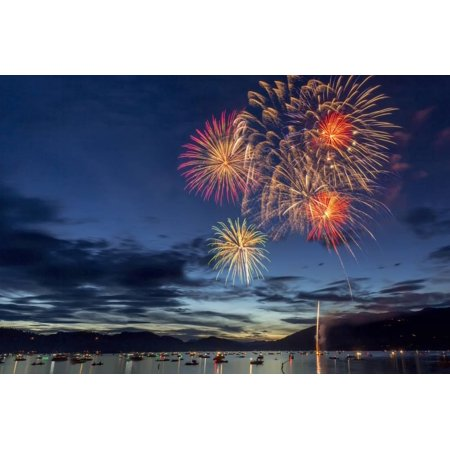 4th of July Fireworks over Whitefish Lake in Whitefish, Montana Print Wall Art By Chuck