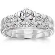 1 Carat Diamond 14kt White Gold Bridal Set -- Stargazer