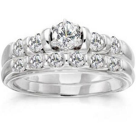 1 Carat Diamond 14kt White Gold Bridal Set Stargazer