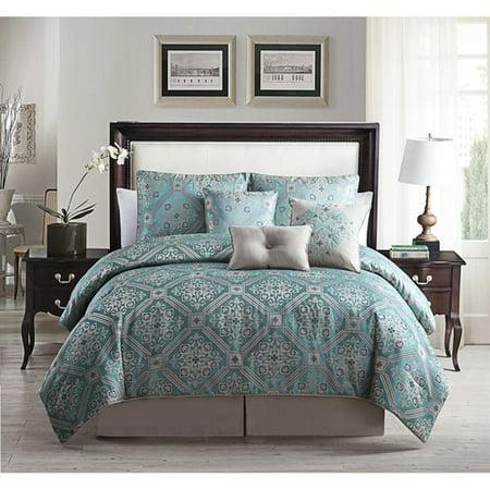 7 Piece Alberson Print Comforter Set Teal Queen Walmart Com