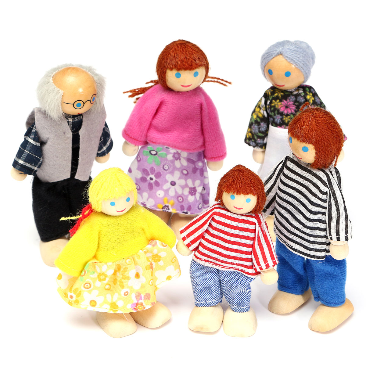 Asewin Funmily Poseable Happy Wooden Doll Family of 6 People Cute Dollhouse Accessories Figures