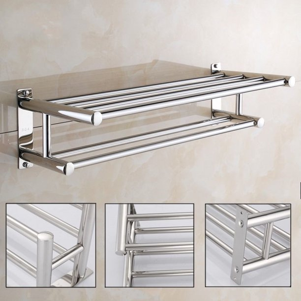 Stainless Steel Towel Rack Double Layer Towel Rail Wall Mounted Bathroom Shelf Storage Shelf Rack Clothes Holder