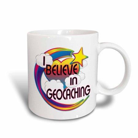 3dRose I Believe In Geocaching Cute Believer Design, Ceramic Mug, 15-ounce