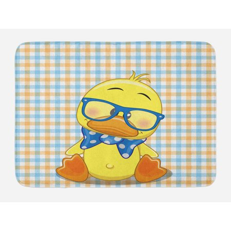 Cartoon Bath Mat, Hipster Boho Baby Duck Dotted Bow Cool Free Spirit Smart Geese Artsy Design, Non-Slip Plush Mat Bathroom Kitchen Laundry Room Decor, 29.5 X 17.5 Inches, Orange Yellow Blue, Ambesonne - Cool Math Duck Life